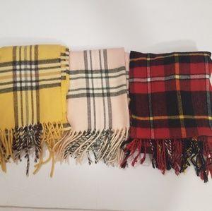 Bundle of three plaid scarves